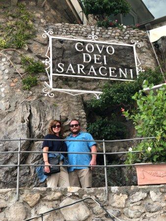 Covo Dei Saraceni: My husband and I by the entrance