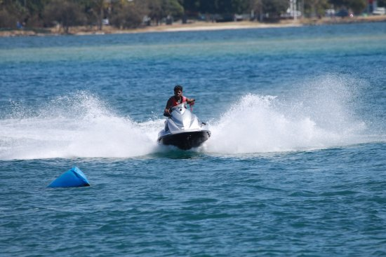 Main Beach, Australia: First timers get great instruction to help them master jetski riding in a flash at Extreme Jet S