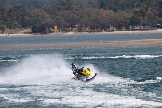 Main Beach, Australia: Feel the wind in your hair as you get up good speed on our jetski tours with Extreme Jet Ski