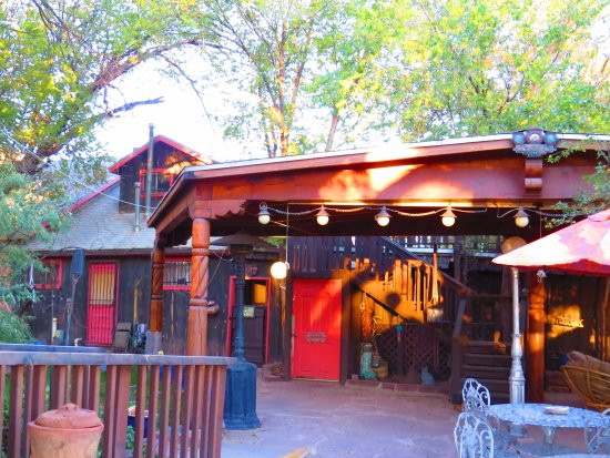 Zuni, NM: The patio where we spent warm evenings under mature trees.