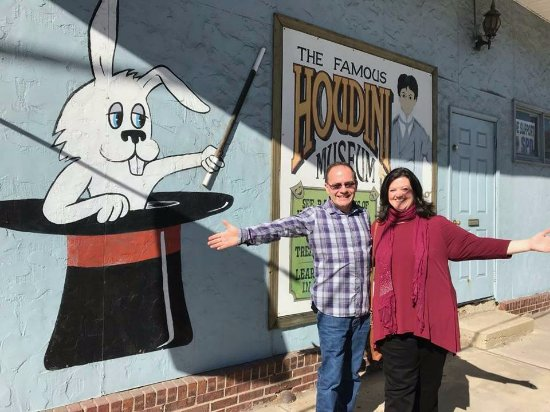 """Houdini Museum: My wife and I doing the """"Ta Da!"""" outside the wonderful museum."""