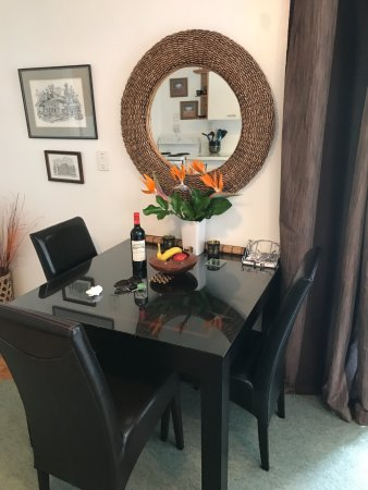 Annies B and B: a small dining table in the lounge