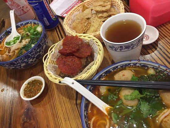 GO Noodle House: SPICY Pork Slices Noodles, SPICY Bursting Meat Ball Noodles, Trio Platter, Herbal Tea