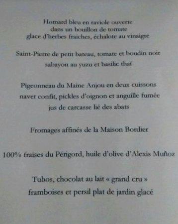 Chancelade, Frankrijk: menu