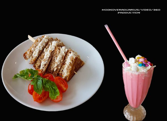 Toasted Chicken Mayo Onbrown Bread Strawberry Milkshake Picture