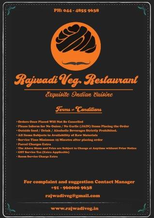 Rajwadi Veg  Restaurant - Egmore, Chennai (Madras) - Restaurant