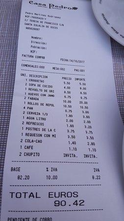 Santa Eulalia de Oscos, Espanha: Ticket para hacerse una idea del precio de carta