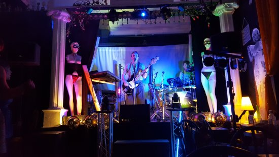 Redruth, UK: Stage at The Melting Pot with Electronics performing