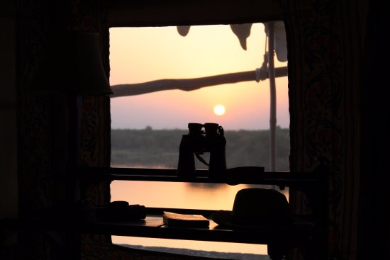 Chhatra Sagar: View from our tent at sunrise