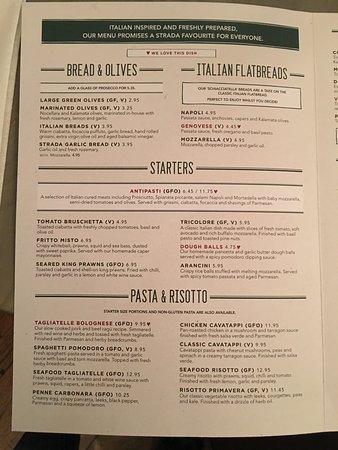 Strada - York: menu