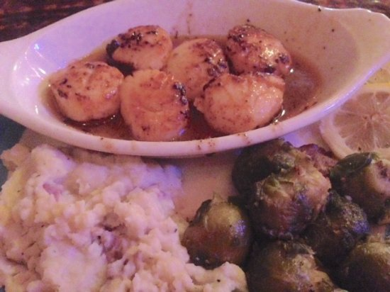 New Brockton, AL: Blackened Coconut Scallops with wasabi mash and roasted bacon and honey brussel sprouts