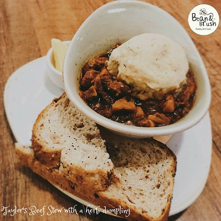 Sale, UK: Beef stew with a herb dumpling with a side of bread & butter