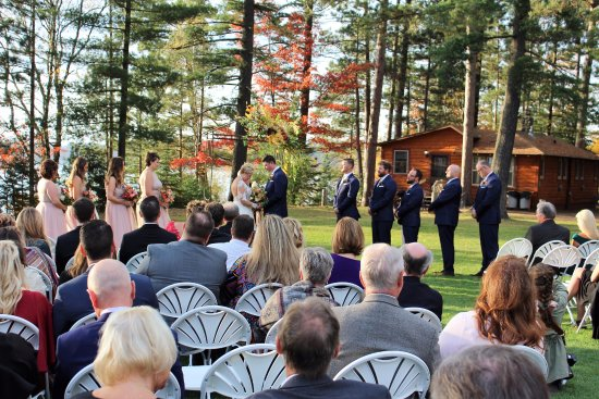 Eagle River, WI: The sun shines on this wedding, loons singing too