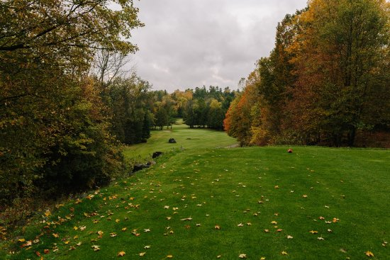 Lanark, Kanada: Signature ninth tee, a must see in person
