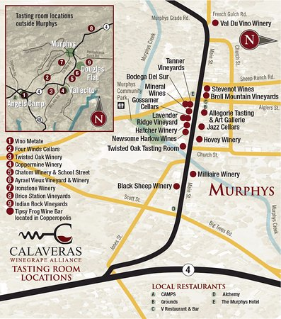 Murphys, Kalifornien: Map of WInery Locations