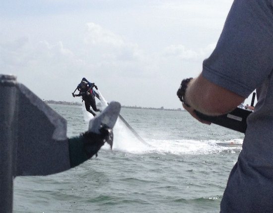 JetLev at TradeWinds Island Resorts: Mike controls the amount of thrust from the boat