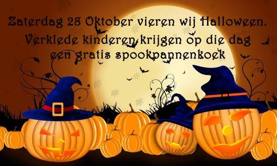Midwolda, The Netherlands: Het is binnenkort halloween 2017, verklede kinderen krijgen van ons een gratis spook pannenkoek!