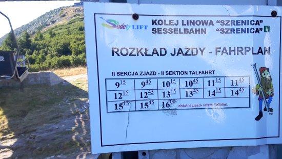 Lower Silesia Province, Polen: pozasezonowy rozkład jazdy kolejki