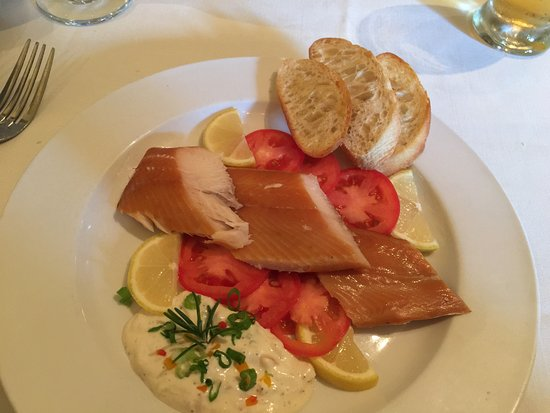 Morganton, North Carolina: Perfectly Smoked Trout, with a marvelous Horseradish Sauce with Capers!