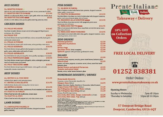 Camberley, UK: Our menu