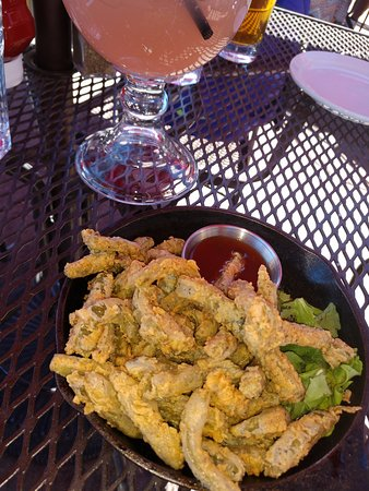 Cowboy Club Grille & Spirits : cactus fries and a prickly pear margarita