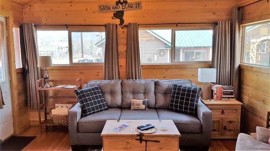 Grand Lake, CO: Wilderness Cabin #6 - Living area with new queen sleeper sofa