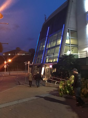 Exterior view at night, The Port Theatre , 125 Front St, Nanaimo, British Columbia