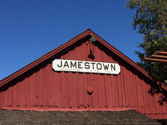 Jamestown, CA: Sign above Railtown Station