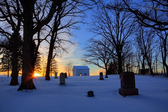 Mount Horeb, WI: Cemetery in Winter.