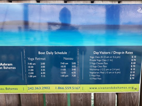 Sivananda Ashram Yoga Retreat: Timetable for the boat