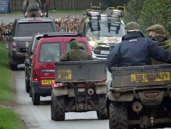 Cheshire, UK: The chaps helping with the hunt, an illegal pastime for blood thirsty morons, awful experience!