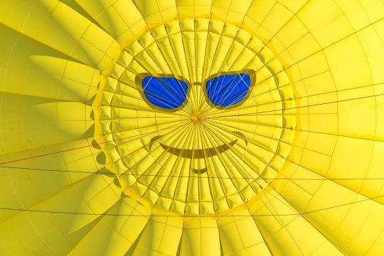 Portageville, NY: Looking up into our balloon. Smile!