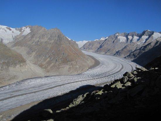Morel, Schweiz: Vue du glacier d'Aletsch depuis Moosfluh