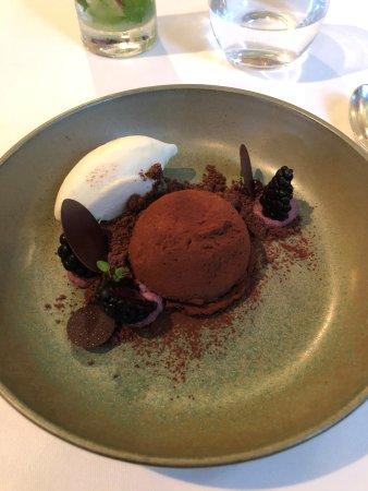 Chocolate and blackberry dessert