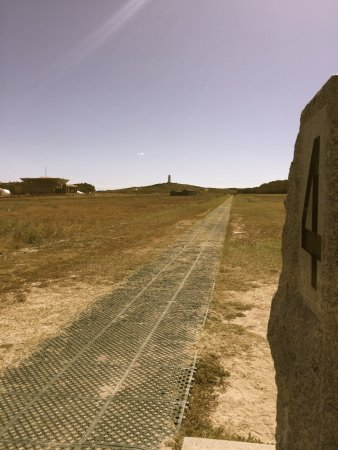 Wright Brothers National Memorial: View from end of the fourth flight to Kill Devil Hill monument