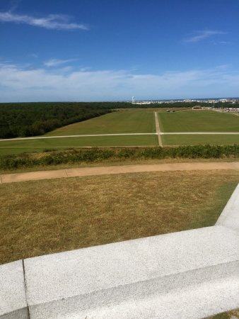 Wright Brothers National Memorial: View from the monument back to the flight location