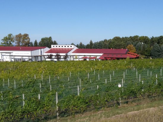 Chateau Grand Traverse Winery: from scenic turnout, view of exterior