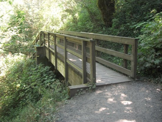 Corbett, OR: A wood Bridge on trail leading down toward base of water fall area