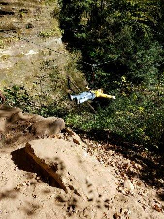Rockbridge, OH: Trust fall - stand backwards on platform and fall. Fun, fun, fun!