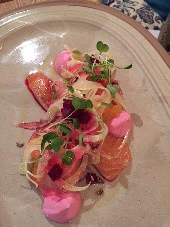 Felin Fach, UK: Smoked salmon and beetroot starter