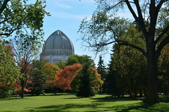 Wilmette, IL: The temple can be seen rising above the trees at a distance