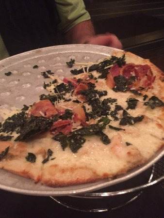 Russell House Tavern: clam, kale, and pancetta pizza