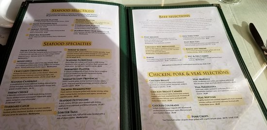 Chestnut Hill Restaurant Myrtle Beach Menu