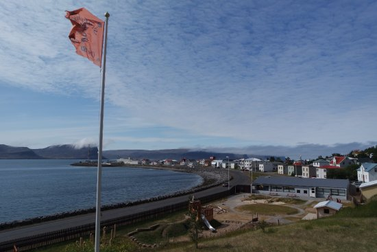 Patreksfjordur, Island: View from the Patio. Looking west, towards the lower village and the harbour.