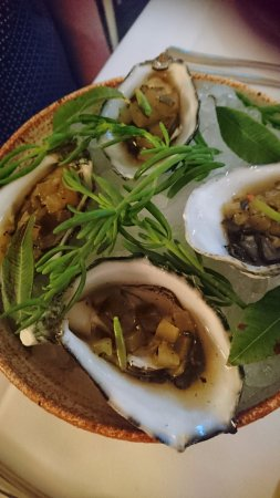 Oysters, charred cucumber and bonita- with a bit of miso as well