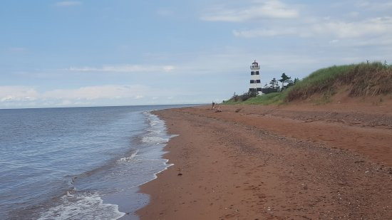 West Point Lighthouse: The view from down the shore line.