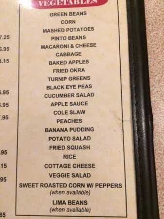 Clemmons, NC: List of vegetable choices