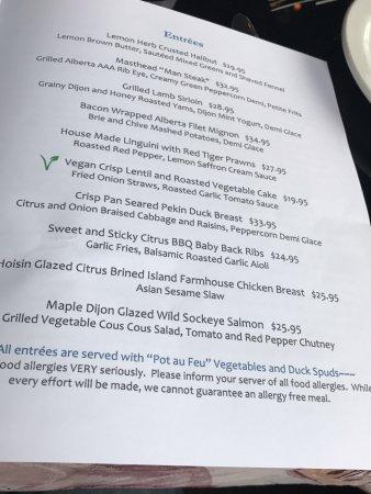 Menu selections, Masthead Restaurant , 1705 Cowichan Bay Rd., Cowichan Bay, British Columbia