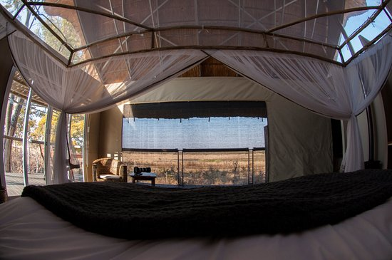 Elephant's Eye, Hwange: wonderful view from the bed
