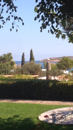Minos Beach Art hotel: Vue de la terrasse de la salle à manger